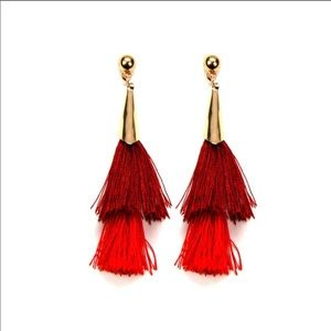Stacked Tassel Earrings/Red& Gold